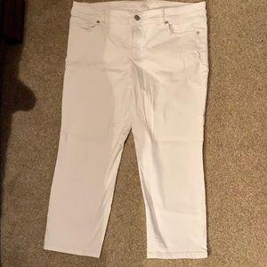 LOFT Modern crop white jeans size 12